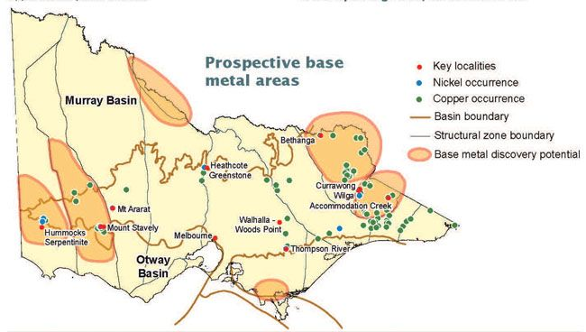 Map of the prospective base metal areas. The key localitites are at Hummocks Serpentinite, Mount Stavely, Melbourne, Walhalla-Wood Point, Thompson River