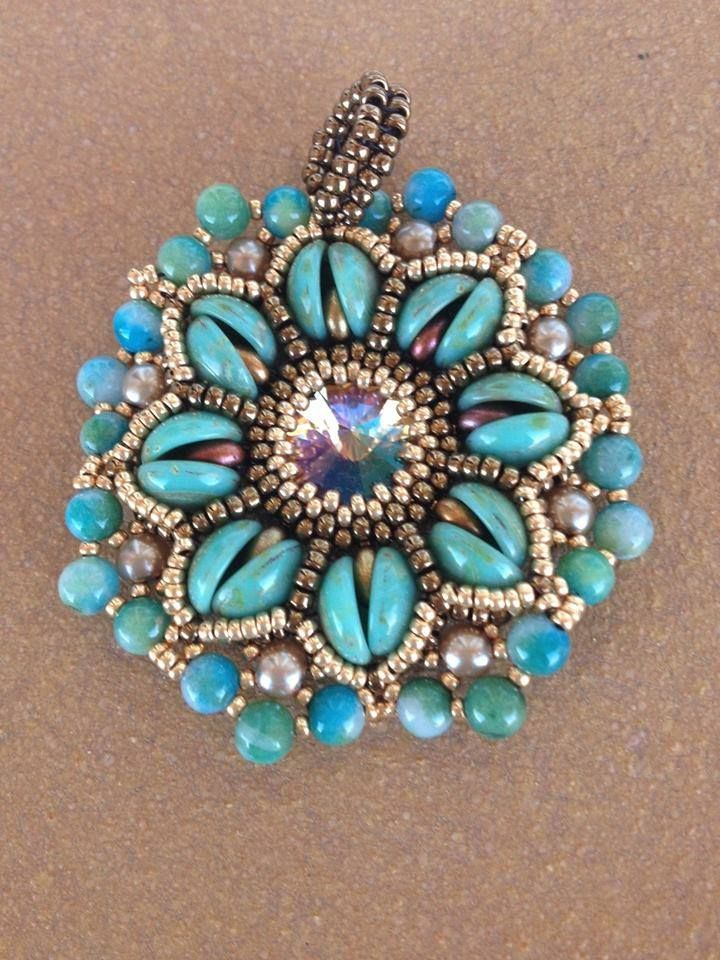 Aurora Pendant with piggy beads beaded by Reme Molina Perea. Beautiful! Thank you for sharing!