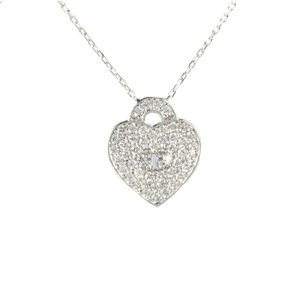Latelita London - Key To My Heart Necklace Silver (£26) ❤ liked on Polyvore featuring jewelry, necklaces, white heart necklace, heart lock necklace, white jewelry, lock jewelry and silver necklace