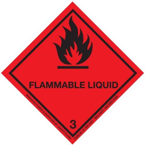 Class 3 Flammable Liquid Hazard Diamond Label 300x300mm