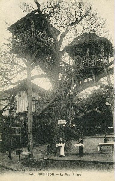 Le vrai arbre de Robinson, carte postale d'une des guinguettes les plus célèbres vers 1900, Musée du Vivant-AgroParisTech