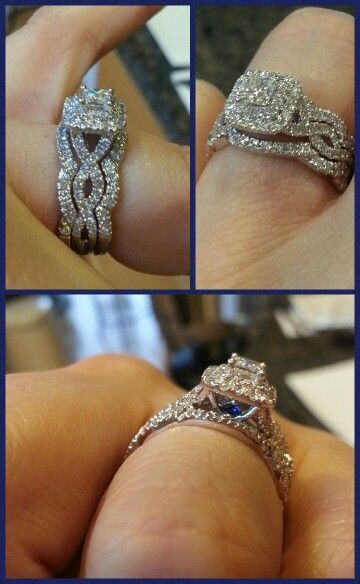 Custom wedding band to go with the Vera Wang Love collection Engagement Ring... So happy it's finally done!!!