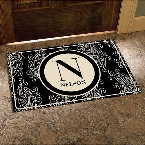 paisley initial and name doormat black 17