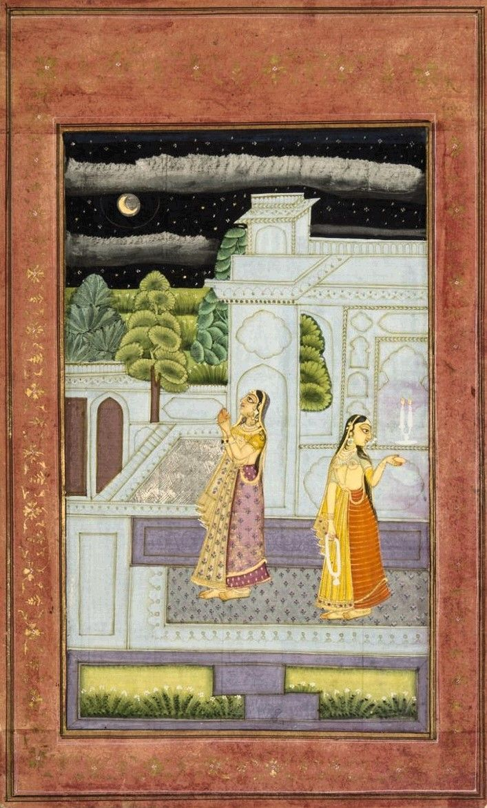 """Bangali Ragini"", c.1750, Deccan. ""Bangali Ragini is envisioned in this painting as a woman worshiping the moon. Bright moonlight illuminates the vividly colored figures, while the spare gray architecture heightens the isolated mood. The heroine gazes longingly at the remote moon, yet her entreaties remain unanswered; even her attendant averts her eyes and remains distant."""