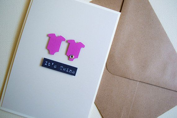 It's Twins Girl  New Baby Card by Le Petit Hibou on Etsy, €4.50