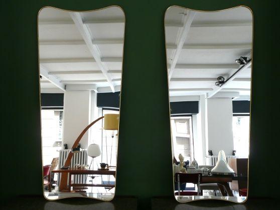 Vintage Design, Modernariato, Art Deco, Neoclassico, Rococò - Officina Antiquaria Milano - Specchi - COPPIA DI SPECCHIERE IN OTTONE NELLO STILE DI GIO PONTI.