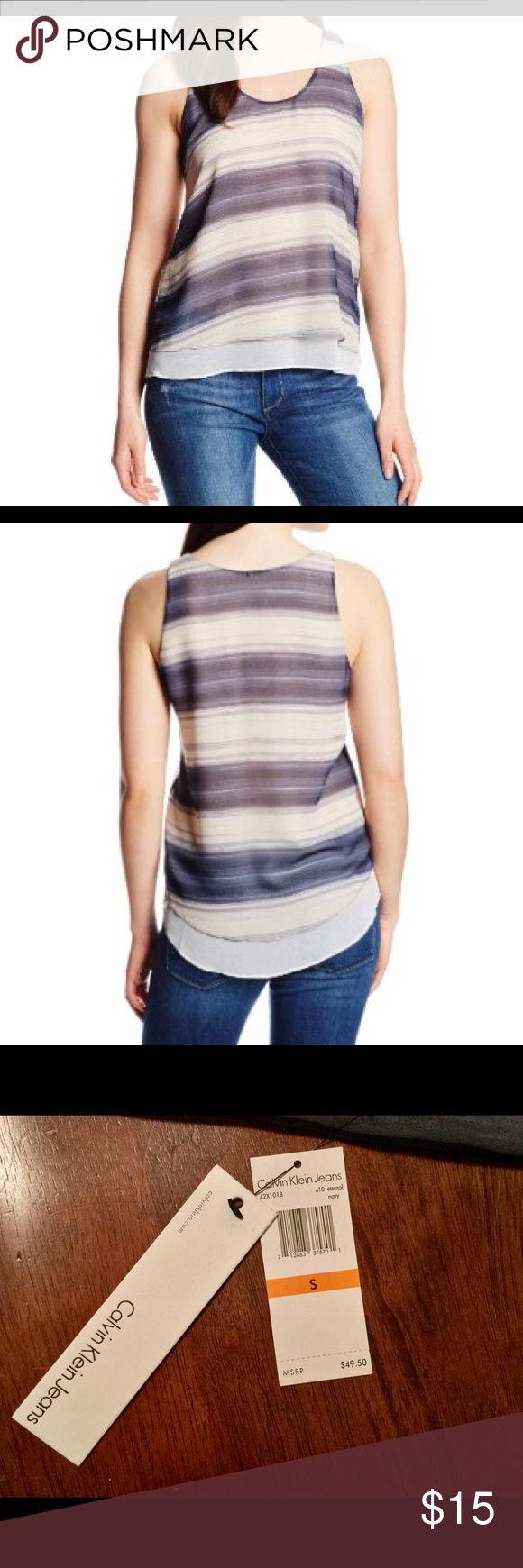 Calvin Klein Women's striped High Low Tank 🏖🌊☀️ Soft gradient blue stripes are featured throughout. Scoop neckline and sleeveless construction. Pullover styling.Relaxed silhouette.High-low hemline. Measurements:Length: 26 inches. Perfect for a hot summer day 🌊☀️⛱ Calvin Klein Jeans Tops