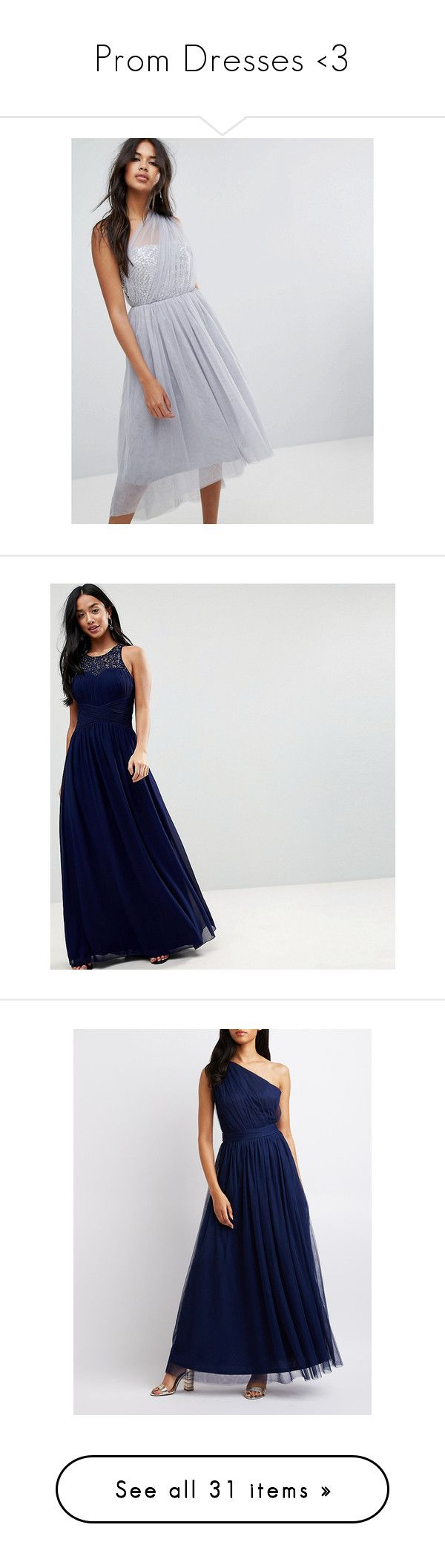 """""""Prom Dresses <3"""" by laurengallop ❤ liked on Polyvore featuring dresses, grey, grey cocktail dress, cocktail prom dress, hi lo dresses, midi dress, hi low prom dresses, navy, petite and petite cocktail dress"""