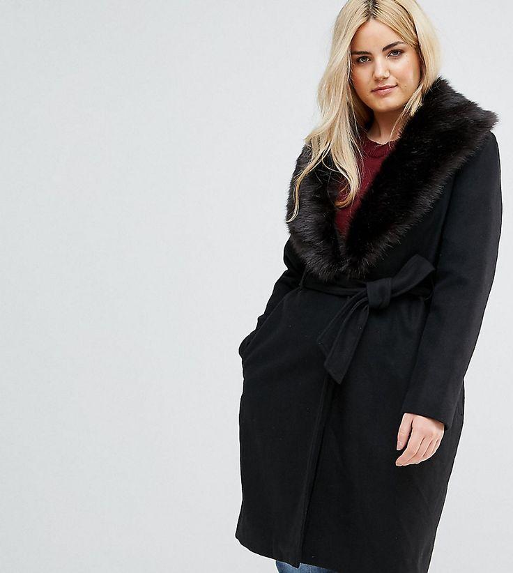 Brave Soul Plus Ada Long Coat With Detachable Faux Fur Collar - Black
