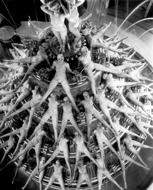 """Busby Berkeley Dancers 1930's- Busby was movie director n musical choreographer- famous for elaborate numbers that often involved complex geometric pattern that seemed almost """"kaleidoscopic""""......  -A little more budget needed - Though synchronised swimming routine might be fun!"""