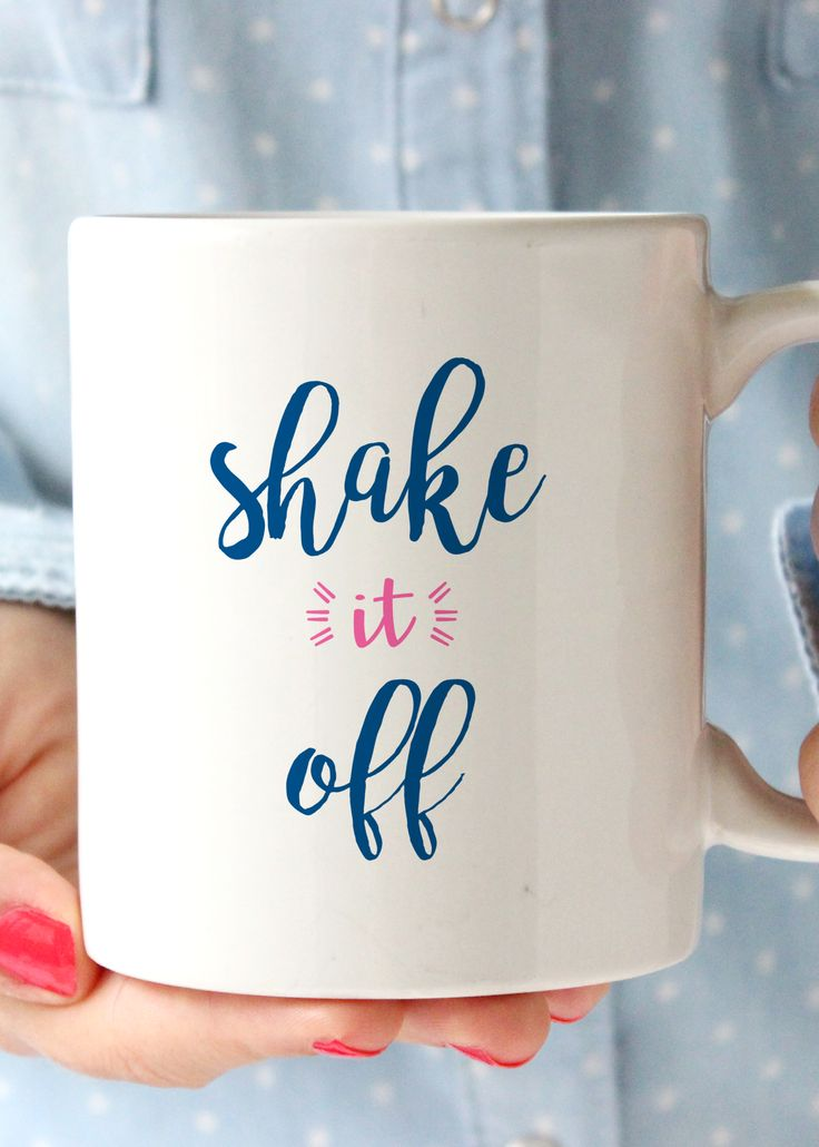 Sh-sh-sh shake it off coffee mug. Sip your coffee with this fun reminder to not sweat the small stuff! - 11oz Premium Coffee Mug - Double Sided - Dishwasher safe - Made in the USA Please Note: Mugs sh