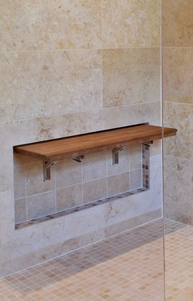 recessed teak wall mount fold down shower bench seat bath and powder rooms shower seat. Black Bedroom Furniture Sets. Home Design Ideas
