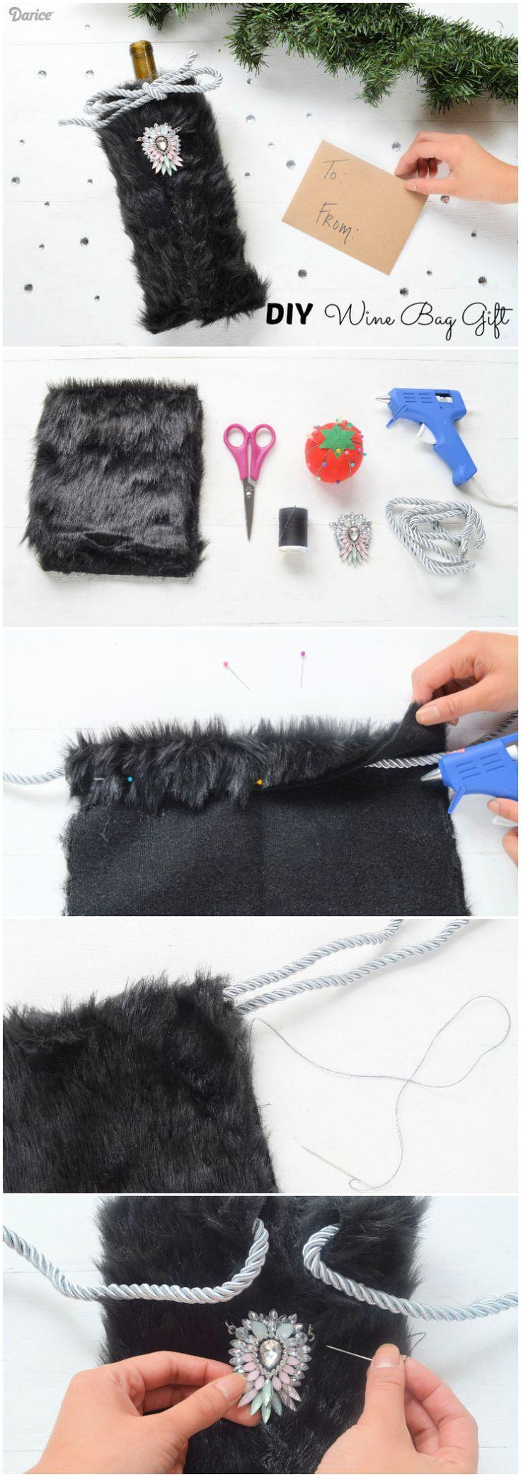 fb43029103a6 Faux Fur Wine Bag.DIY Wine Bag  Faux Fur Gift Bag Tutorial Paper ...
