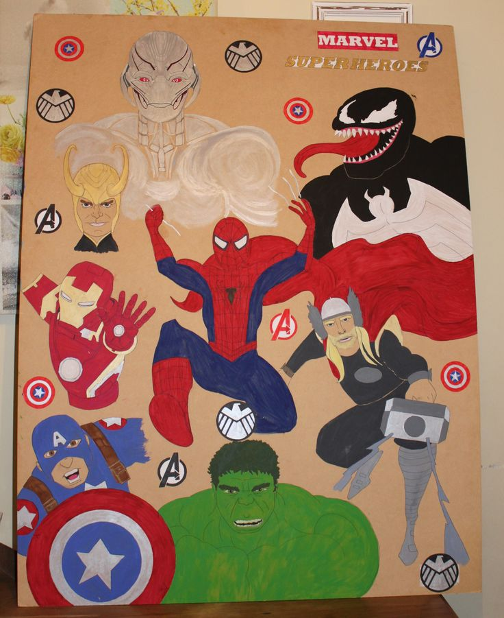 The board I painted for my son for his birthday. He chose what Marvel characters he wanted :-)