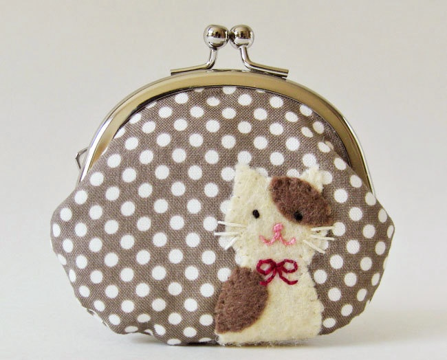 Coin purse brown and cream cat on mocha dots