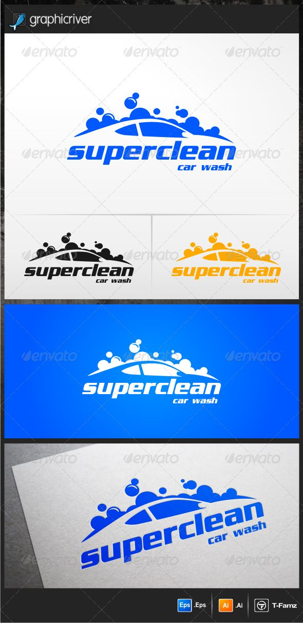 Car Wash  - Logo Design Template Vector #logotype Download it here: http://graphicriver.net/item/car-wash-logo-templates/4541557?s_rank=695?ref=nexion