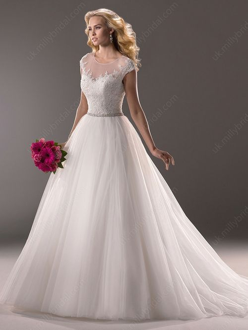 Ball Gown Scoop Tulle Sweep Train Lace Wedding Dresses