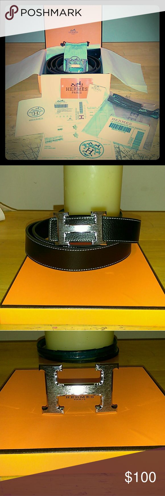 Hermes Belt Brand New Hermes black belt silver buckle Comes with original box and dust bag and paper work!! Price should say it all any other questions please feel free to ask. Order tonight will ship out tomorrow Hermes Accessories Belts