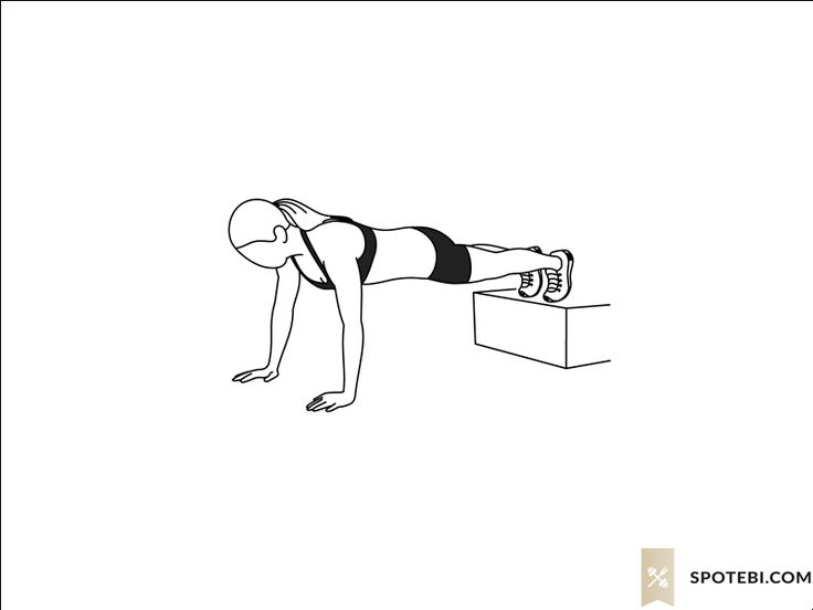 Decline push up exercise guide with instructions, demonstration, calories burned and muscles worked. Learn proper form, discover all health benefits and choose a workout. http://www.spotebi.com/exercise-guide/decline-push-up/