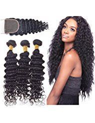 Ballice Hair Peruvian Virgin Hair Deep Wave 3pack/lot Bundles with 1 Piece 44 Free Part Lace Closure 100% Unprocessed Human Hair Weave Extensions Nature Color (14 16 18+12closure)