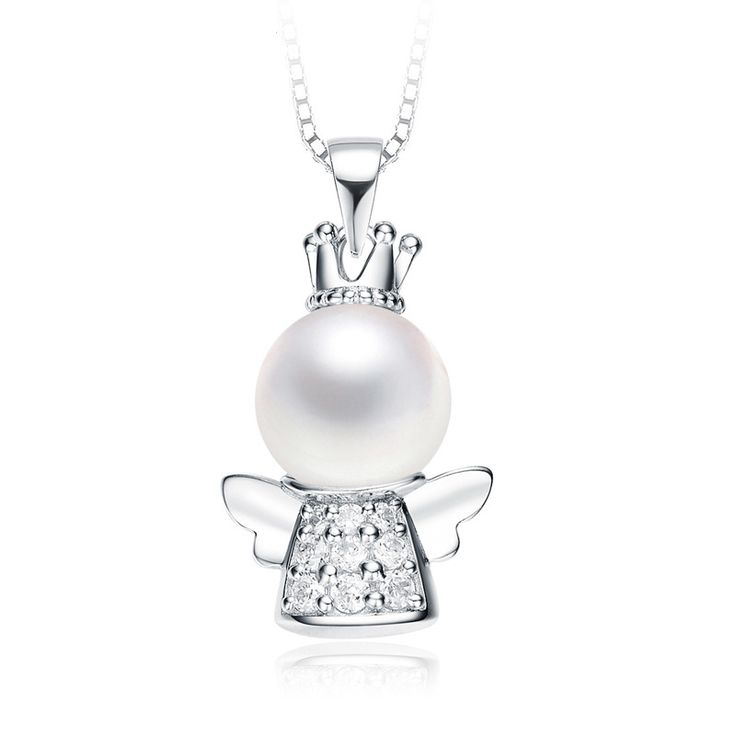 Necklaces pendants 1136 pinterest high quality real 925 sterling silver fashion cute white shell pearl angel pendant necklaces for women mozeypictures Gallery