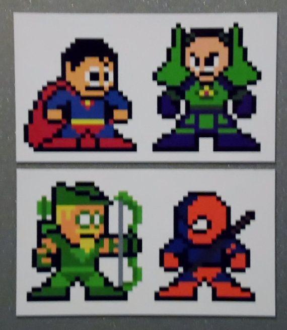 8-bit Superman vs Lex Luthor & Green Arow vs by 8bitherodotorg