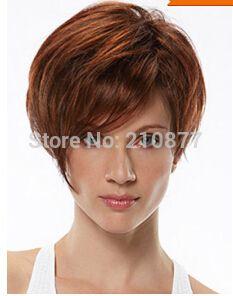 Привлекательный красного дерева косой пробор тепло - упорное волокна женщины короткие синтетические парики
