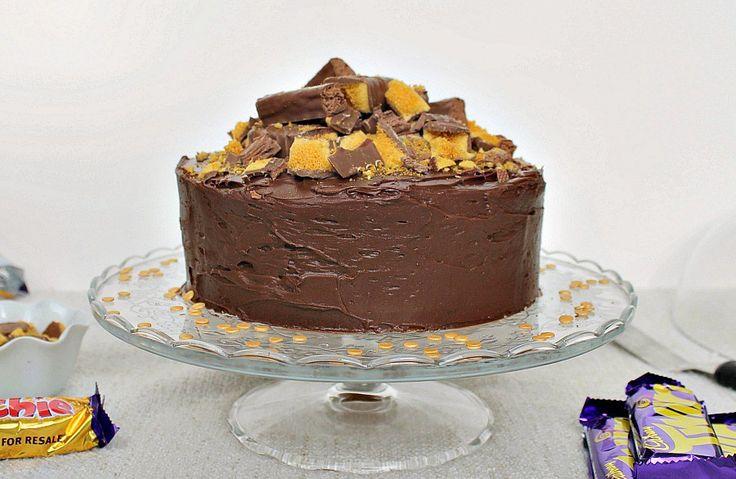 Cadbury Crunchie Coffee Cake with a twirl