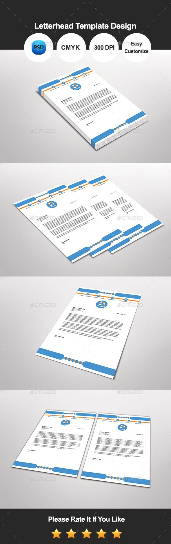 #Blue and #Letterhead #Template Design - Proposals & Invoices #Stationery Download here: https://graphicriver.net/item/blue-and-letterhead-template-design/13493996?ref=alena994