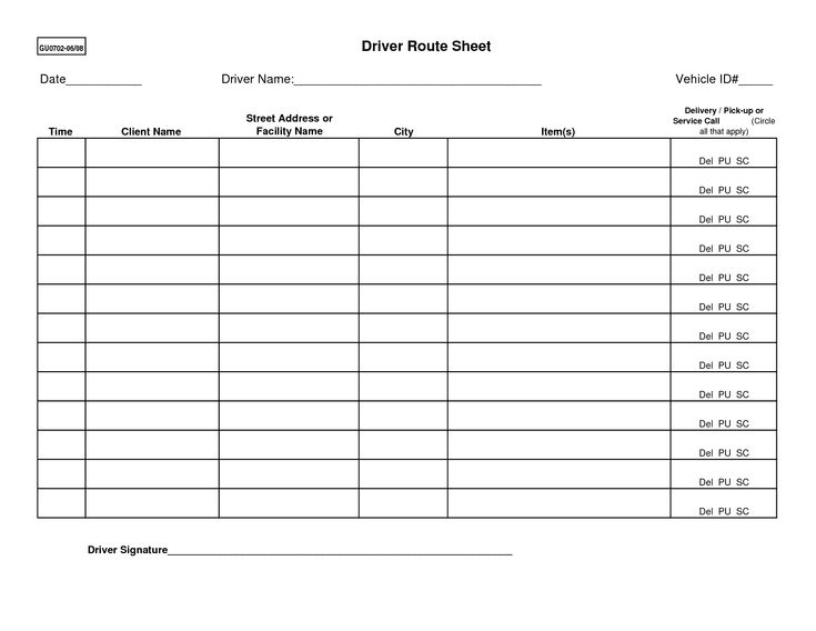 Route Sheet Template. delivery schedule template 8 free word excel ...