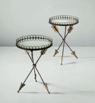 Golden Arrow Side Tables Art Deco- Philips London September Design Auction