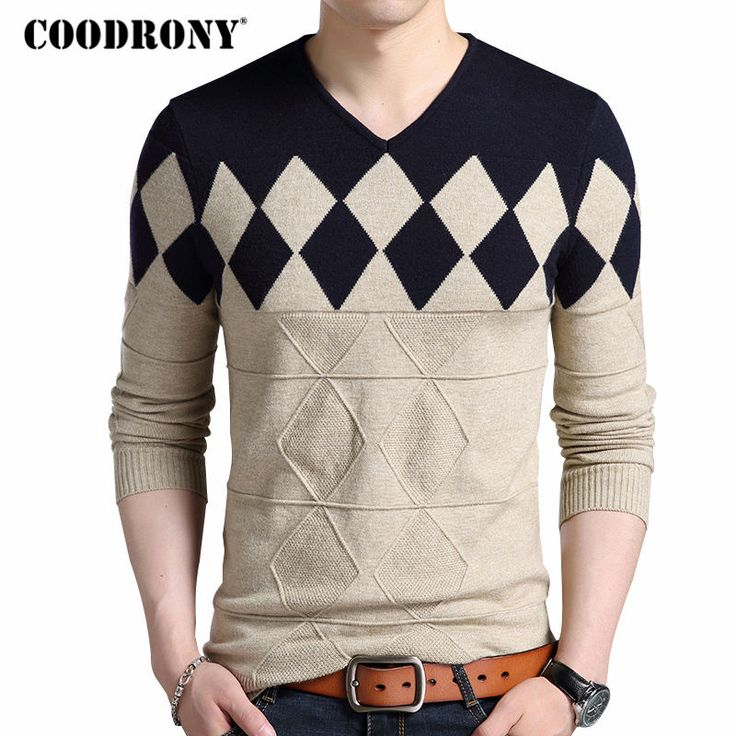 COODRONY Cashmere Wool Sweater Men 2017 Autumn Winter Slim Fit Pullovers Men Argyle Pattern V-Neck Pull Homme Christmas Sweaters $15.18