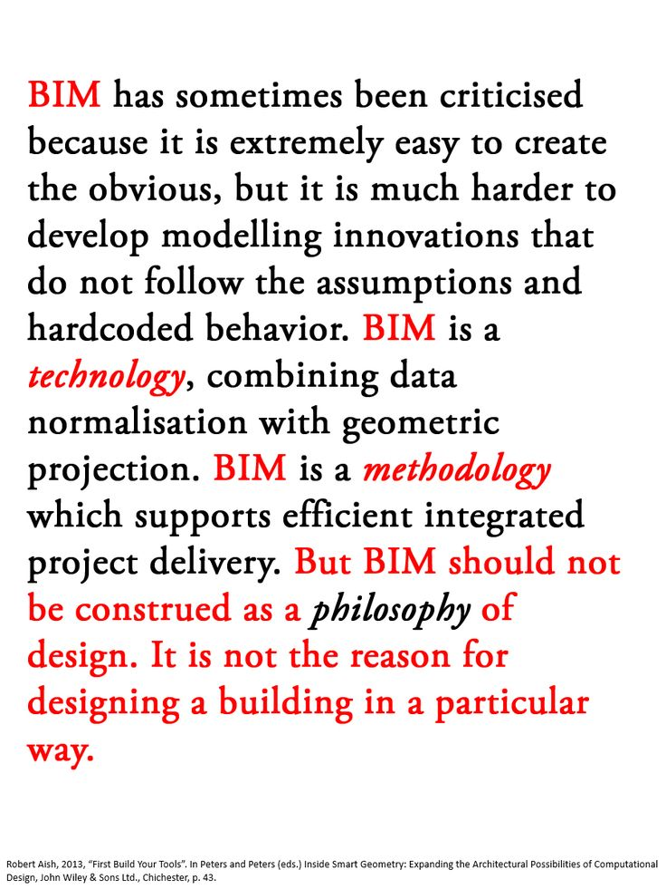 Good observation by Robert Aish about the role of BIM.