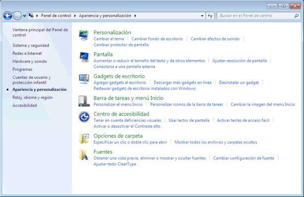Qué es el Panel de control de Windows 7 y qué hay en él: Apariencia y personalización