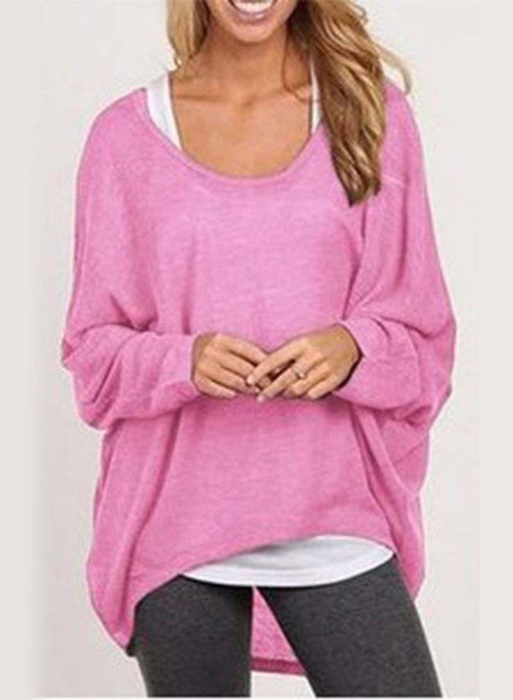 Pink Batwing Sleeve Loose Fit Knit Sweater