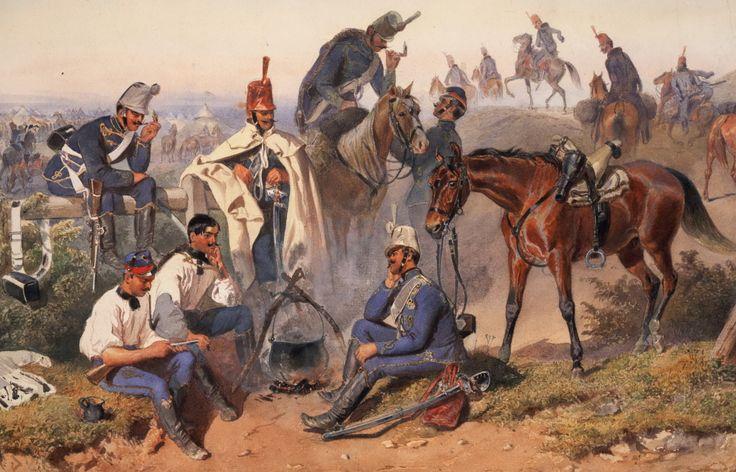 Austrian Hussars in the field, 1859
