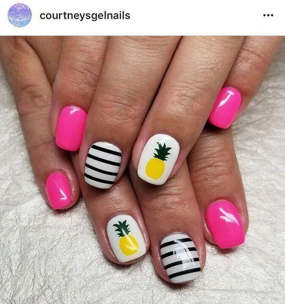 Pineapple 2 Tone nagel sticker | Geel en donkergroen