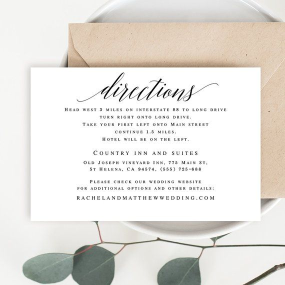 Directions Template Editable Pdf Directions Insert Directions Cards For Wedding Invitation Enclosure Cards Wedding T