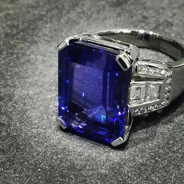 "Africn - Tanzanite - Diamonds - Platinum  Stunning Rectangular 11.52ct  ""Emerald"" cut Tanzanite in a Handcrafted Platinum and Diamond Ring  #tanzanite #diamonds #Platinum #handcrafted #africn"
