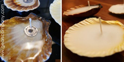 hacer velas con conchas