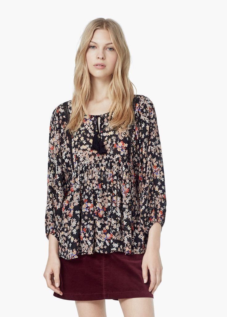 Blusa estampado flores -  Mujer | MANGO