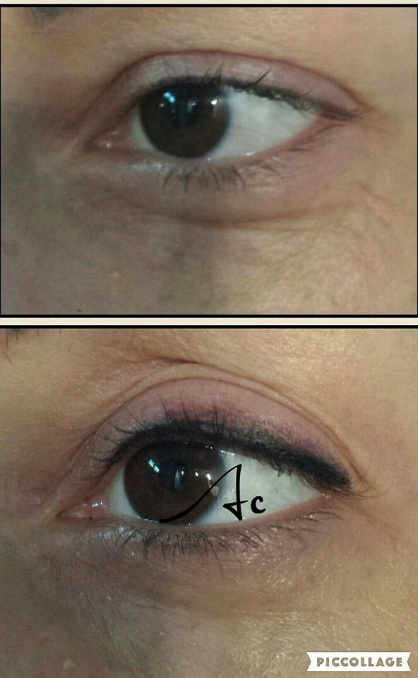 Trucco permanente linea occhi Permanent make up eyes eye liner superiore matita sfumato naturale