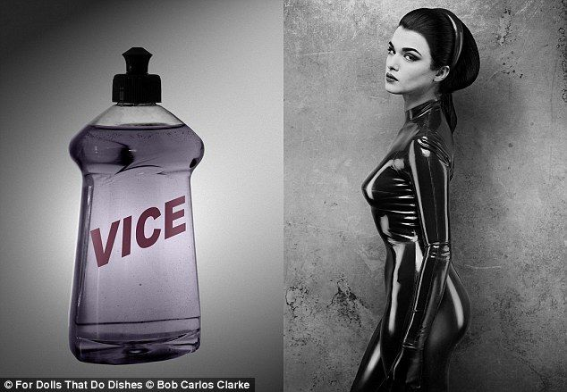 The tight stuff: Rachel Weisz sported a tight fitting PVC catsuit in another image...