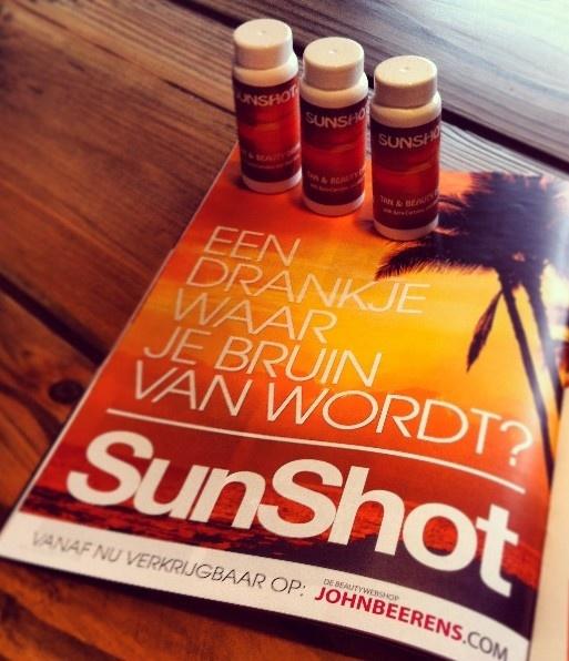NEW!! Zou u graag sneller bruin willen worden? Sunshot, het bruinings- en vitaminedrankje, zorgt voor een bruiner resultaat dan normaal! Drink het drankje op voordat u gebruik maakt van de zonnebank of wanneer u gaat zonnen en u zult het resultaat zien. http://www.johnbeerens.com/merken/sunshot.html