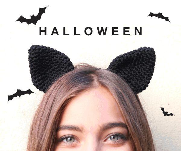 Queremos regalarte un patrón gratuito temático de Halloween para que tejas unas orejas de gato en crochet.