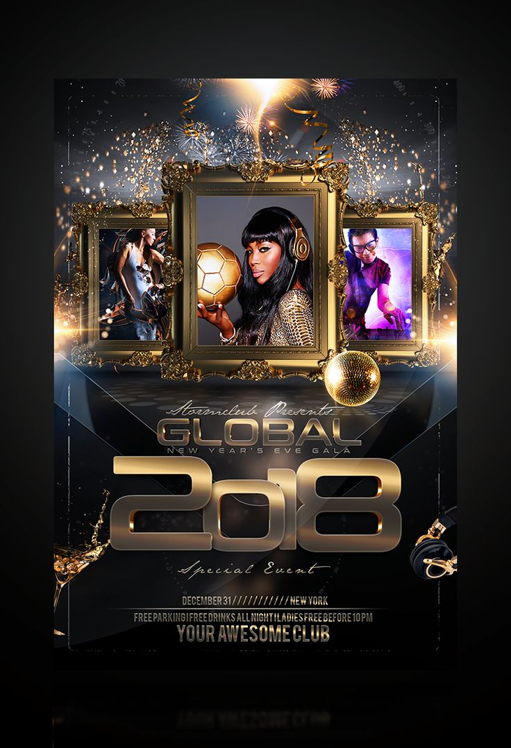 New Years Eve Around the World Flyer Template