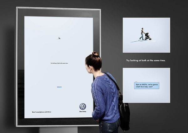 Clever Volkswagen Ads Show You Can't Look At Two Places At Once
