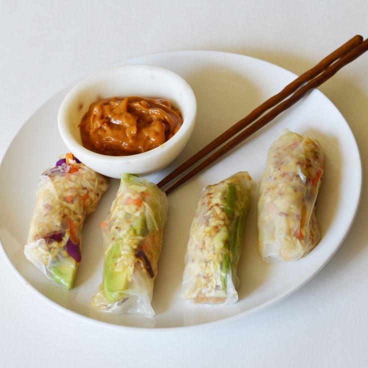 Simple Vegetarian Spring Rolls with Peanut Sauce