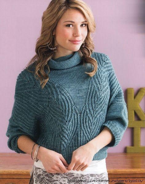 Голубая ель - свободный пуловер спицами