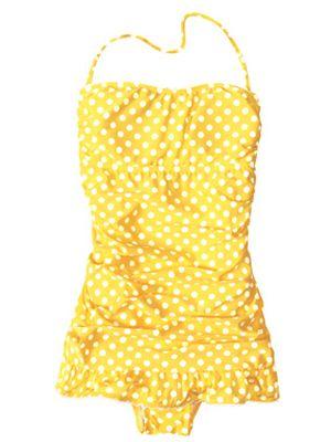 she wore an itsy bitsy teeny weeny yellow polka dot one piece.